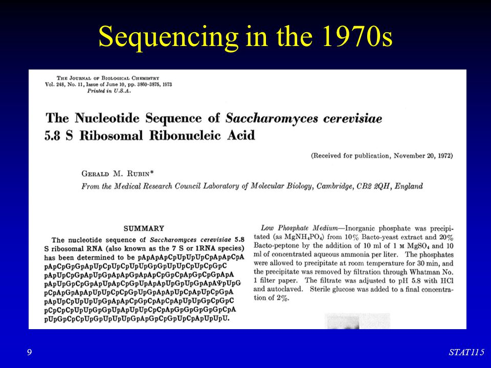 Sequencing in the 1970s STAT115