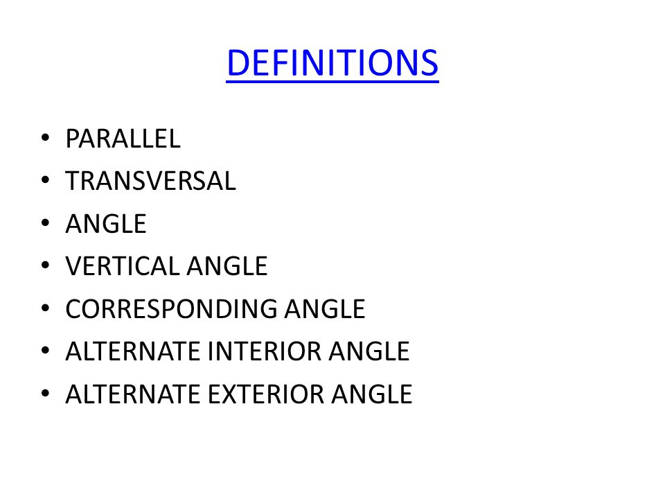 Parallel lines cut by a transversal ppt video online - Definition of alternate exterior angles ...