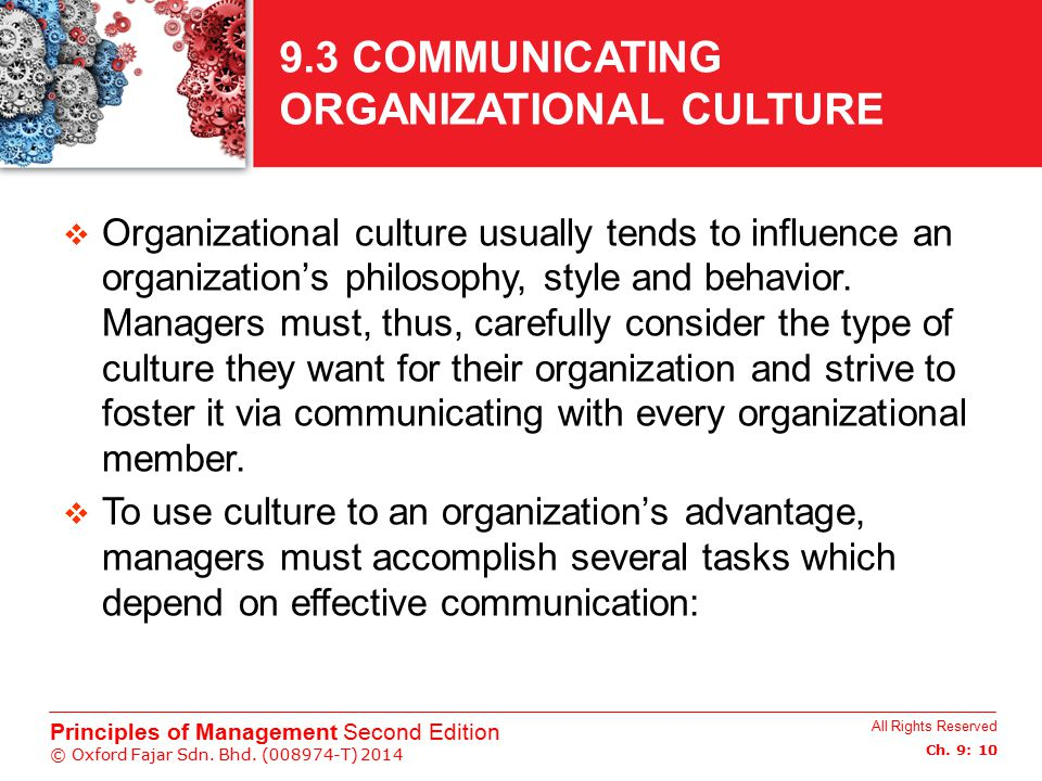 9.3 COMMUNICATING ORGANIZATIONAL CULTURE