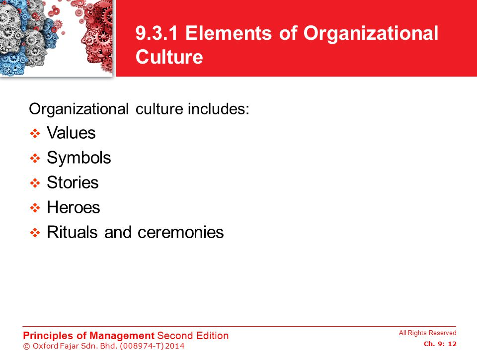 9.3.1 Elements of Organizational Culture