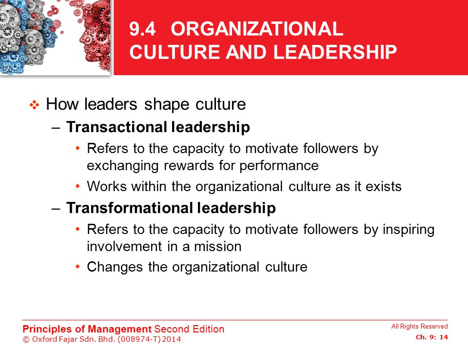 9.4 ORGANIZATIONAL CULTURE AND LEADERSHIP