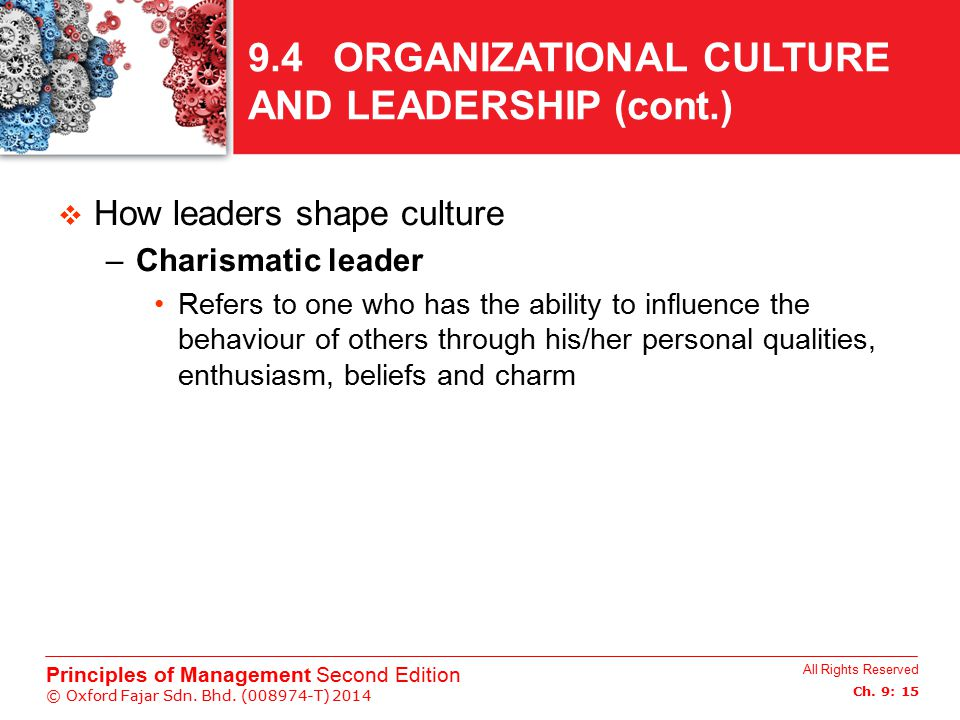 9.4 ORGANIZATIONAL CULTURE AND LEADERSHIP (cont.)