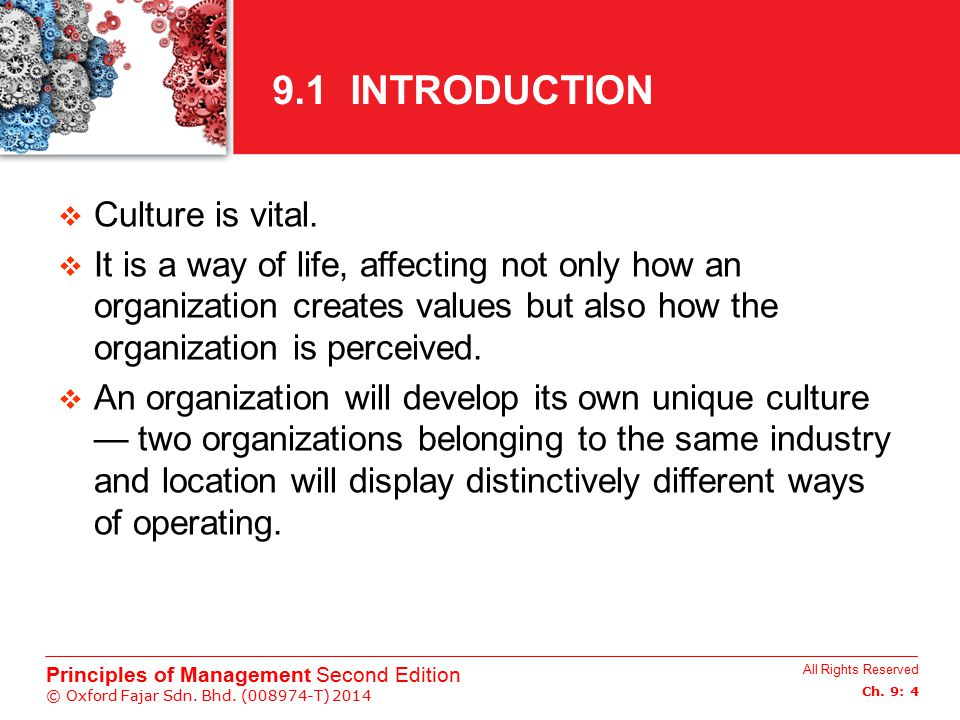 9.1 INTRODUCTION Culture is vital.