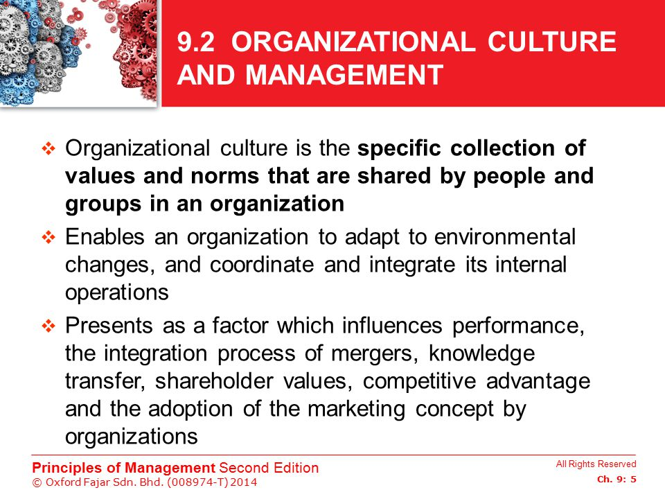 9.2 ORGANIZATIONAL CULTURE AND MANAGEMENT