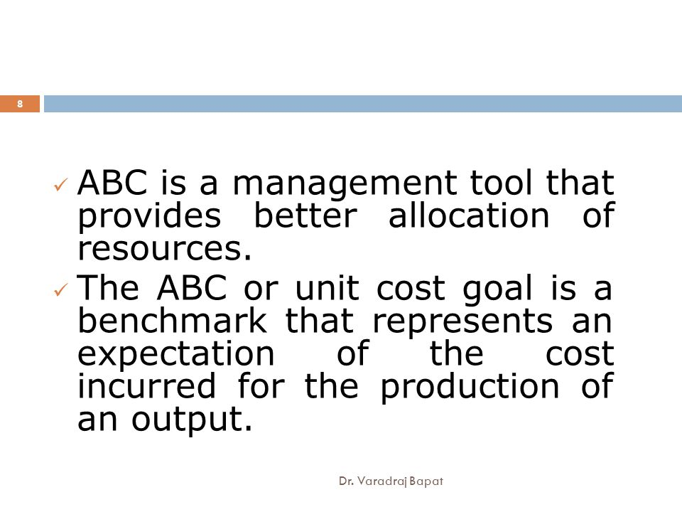 a better understanding of the concept and application of activity based costing During the 1980s, many businesses started to introduce activity-based costing ( abc) systems the aim of these was to achieve a more accurate calculation of product costs however, it soon became apparent that the information that had been produced for activity based costing had much wider use than.