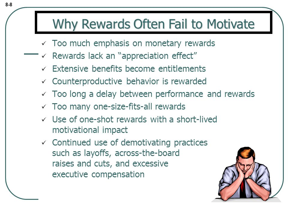 8 reasonswhy rewards fail to motivate Why do some teams and organization fail what causes some teamwork to succeed here are six reasons teams fail how is your team and organization doing.