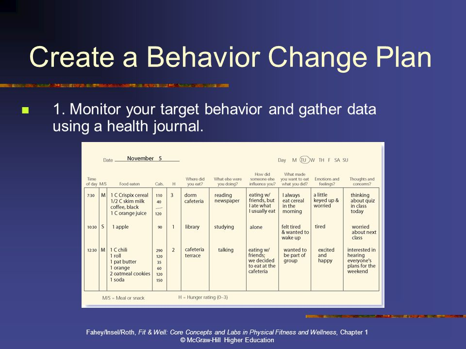 behavior change plan essay