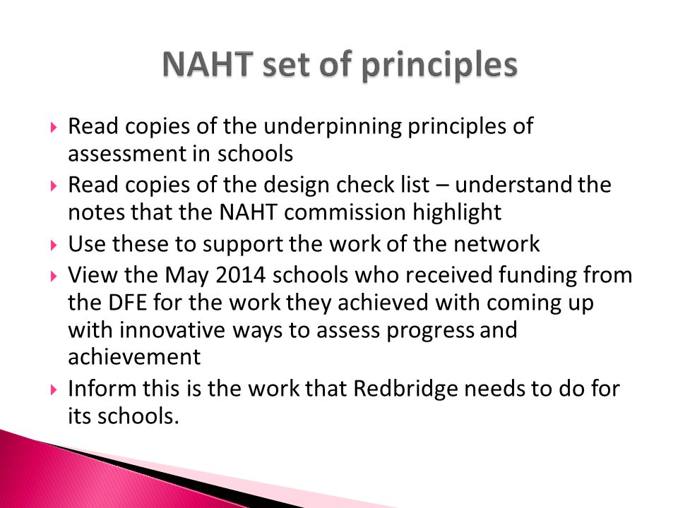 NAHT set of principles Read copies of the underpinning principles of assessment in schools.