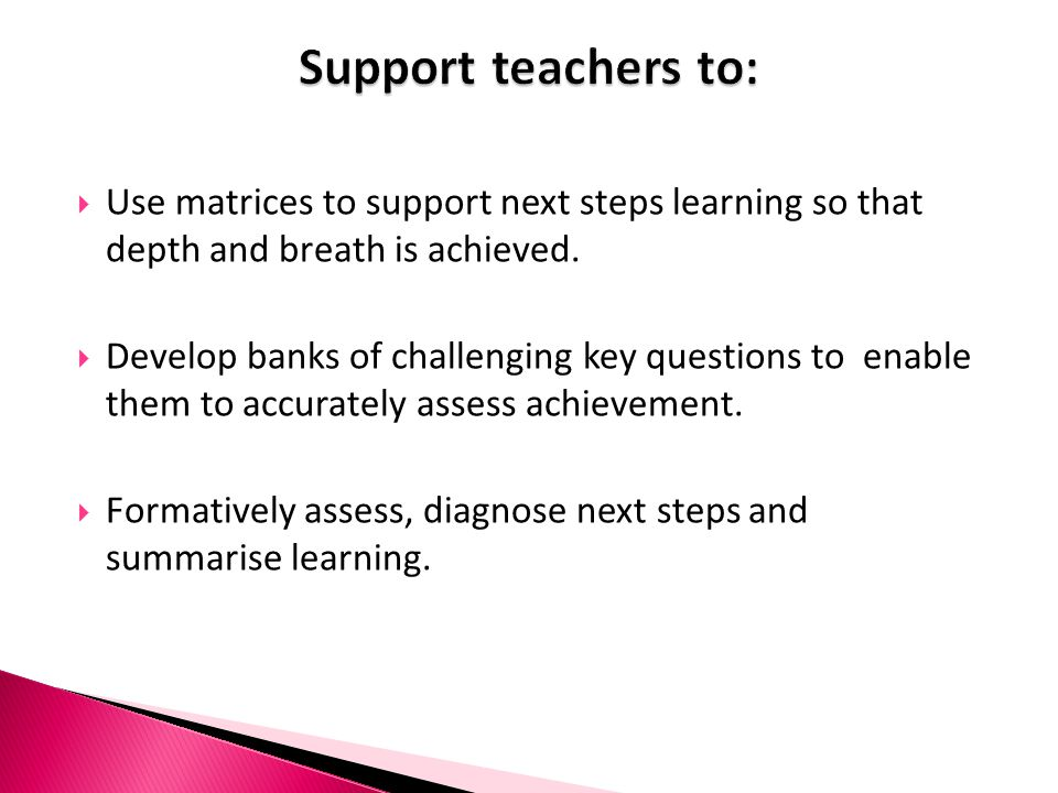Support teachers to: Use matrices to support next steps learning so that depth and breath is achieved.