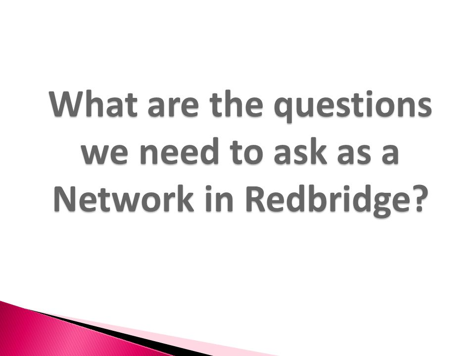 What are the questions we need to ask as a Network in Redbridge