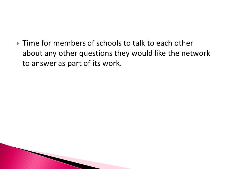 Time for members of schools to talk to each other about any other questions they would like the network to answer as part of its work.