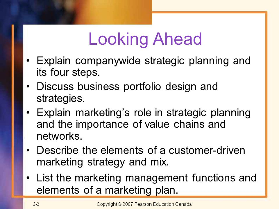 Looking Ahead Explain companywide strategic planning and its four steps. Discuss business portfolio design and strategies.
