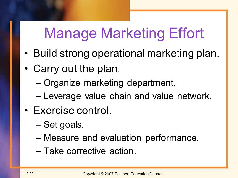 Manage Marketing Effort