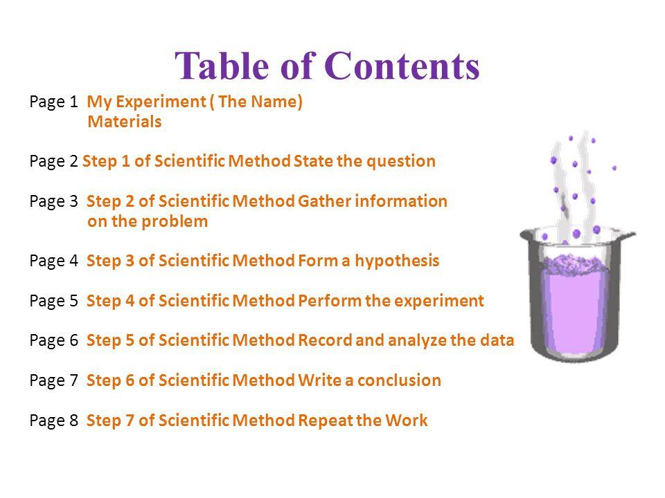 Scientific Inquiry Experiment. 2 Table ...