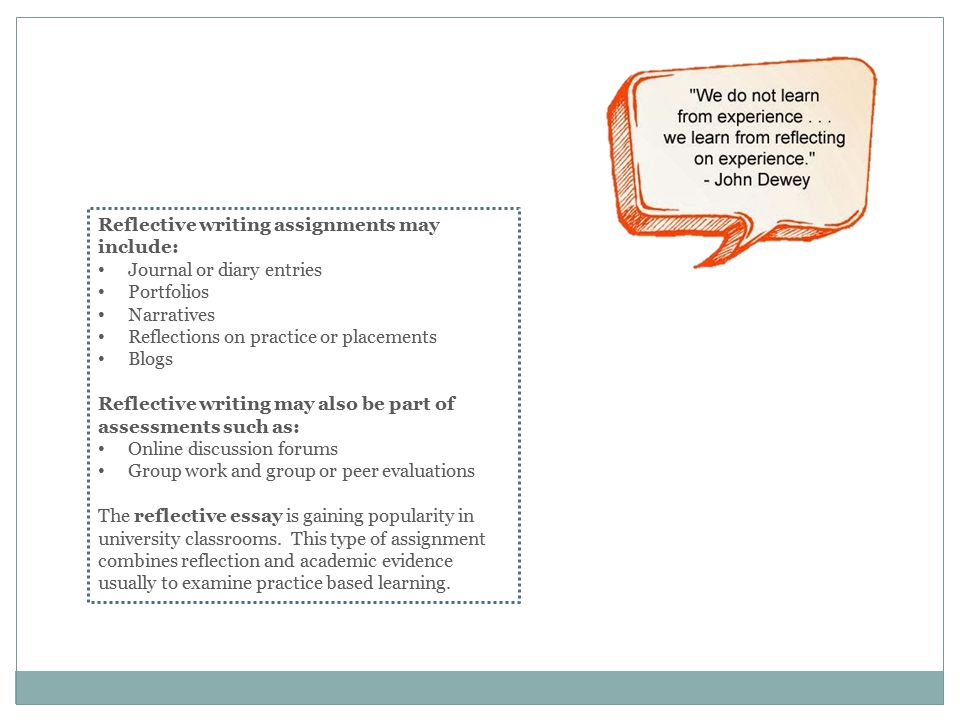 reflective writing assignments ppt video online  4 reflective writing assignments