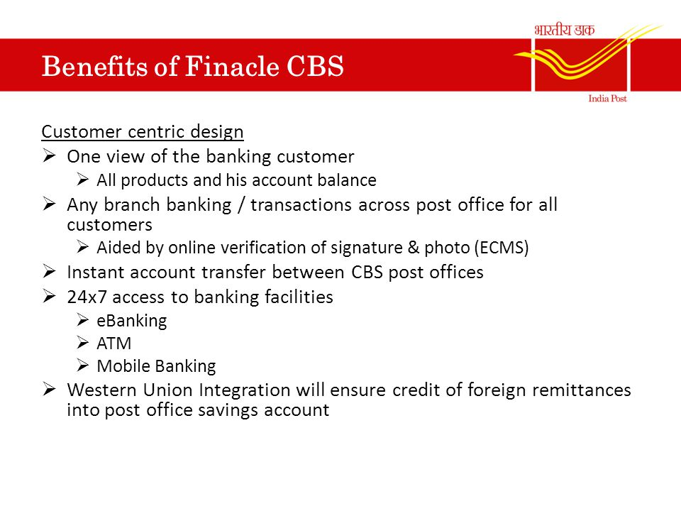 Work shop on cbs for divisional heads of karnataka circle ppt download - Internet banking post office ...