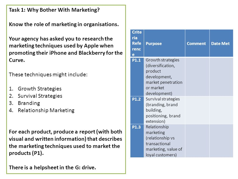p1 marketing techniques U10 market research in business p1,2,3,4,5  p1 marketing research: market  this technique would concentrate more on peoples ages or gender we would use this.