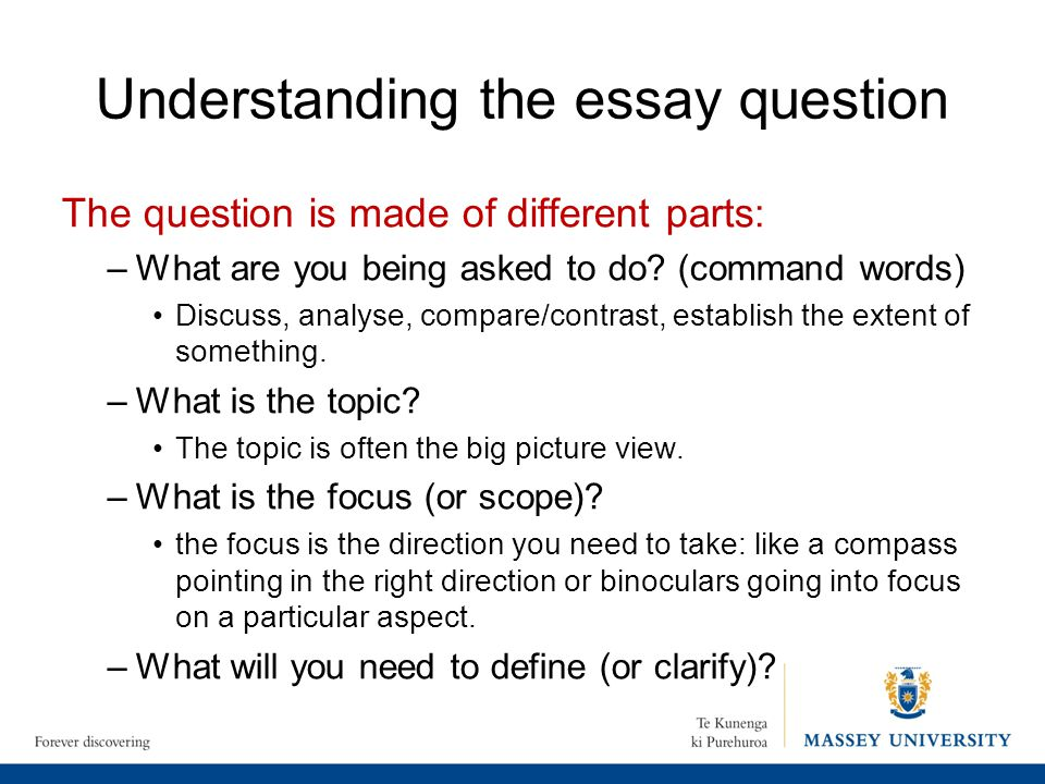 essaywriting understanding the question Preparing effective essay questions is essential for both writing and grading essay questions to gain a better understanding of the basic elements of an essay.