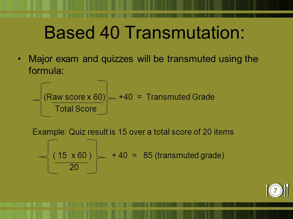 Food and beverage service operation lecture ppt video for Transmutation table 85 items