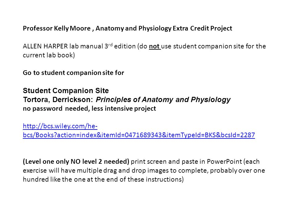 Professor Kelly Moore , Anatomy and Physiology Extra Credit Project ...