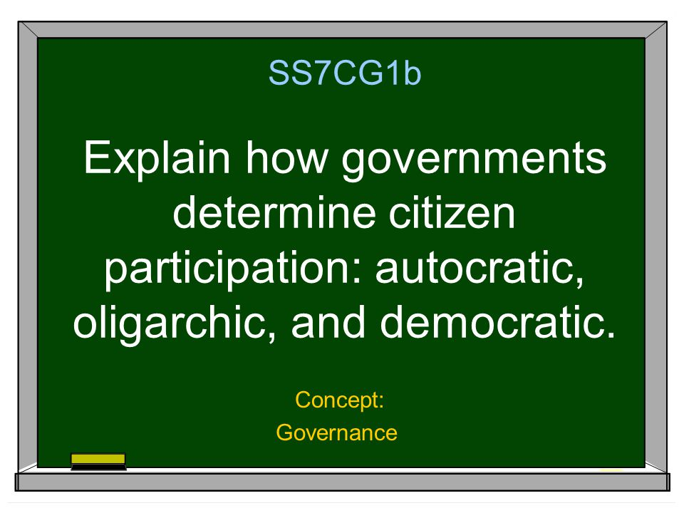SS7CG1b Explain how governments determine citizen participation: autocratic, oligarchic, and democratic.