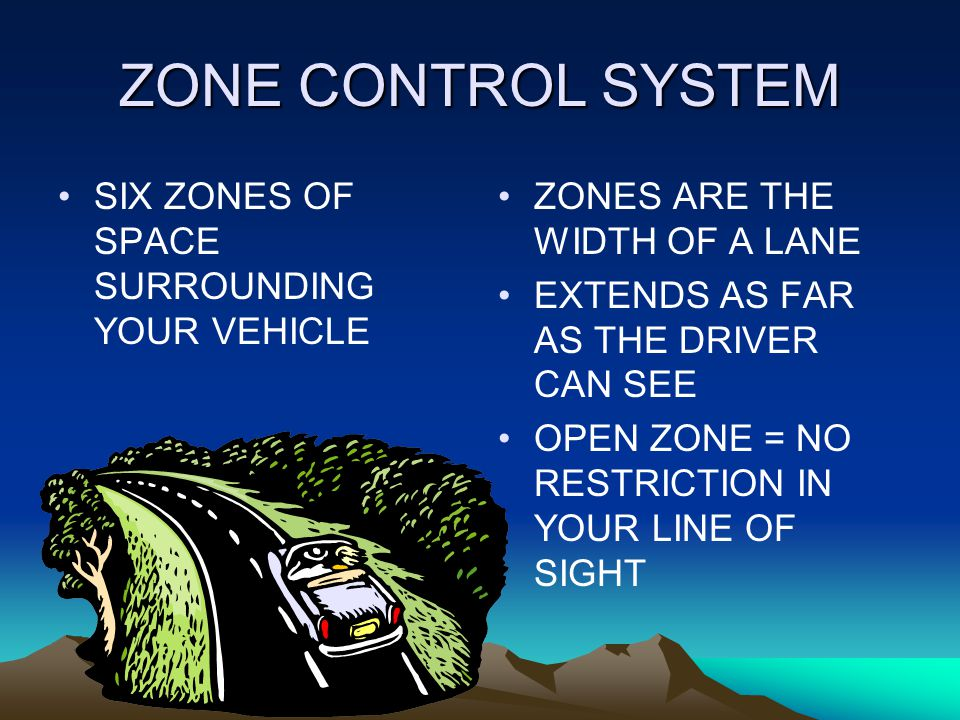 ZONE CONTROL SYSTEM SIX ZONES OF SPACE SURROUNDING YOUR VEHICLE