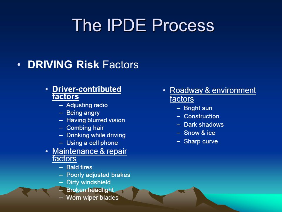 The IPDE Process DRIVING Risk Factors Driver-contributed factors