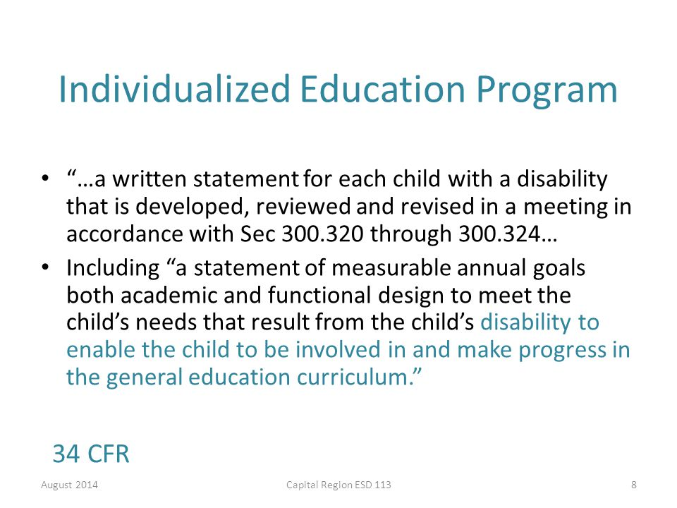 quality individualized educational programs essay Gibb, gordon sdyches, tina taylorguide to writing quality individualized education programs boston : pearson education/allyn and bacon, 2007 print these.