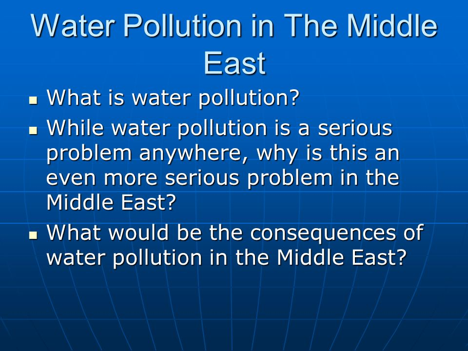 Water Pollution in The Middle East