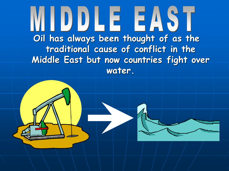 MIDDLE EAST Oil has always been thought of as the traditional cause of conflict in the Middle East but now countries fight over water.