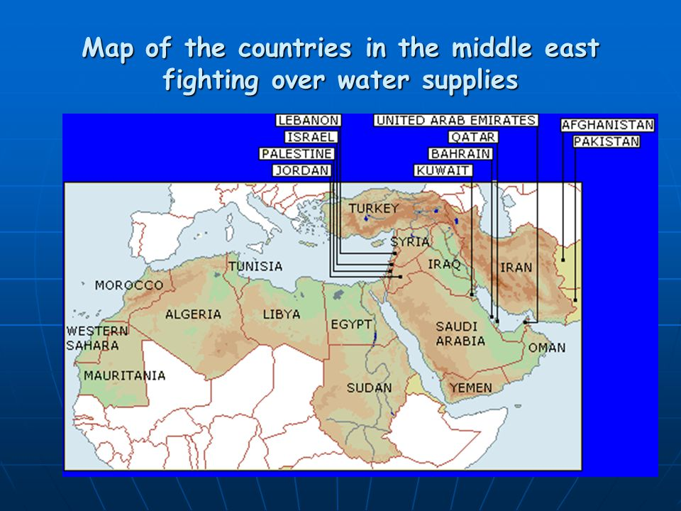 Map of the countries in the middle east fighting over water supplies