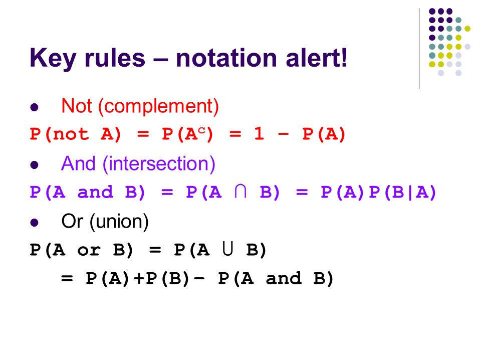 Key rules – notation alert!