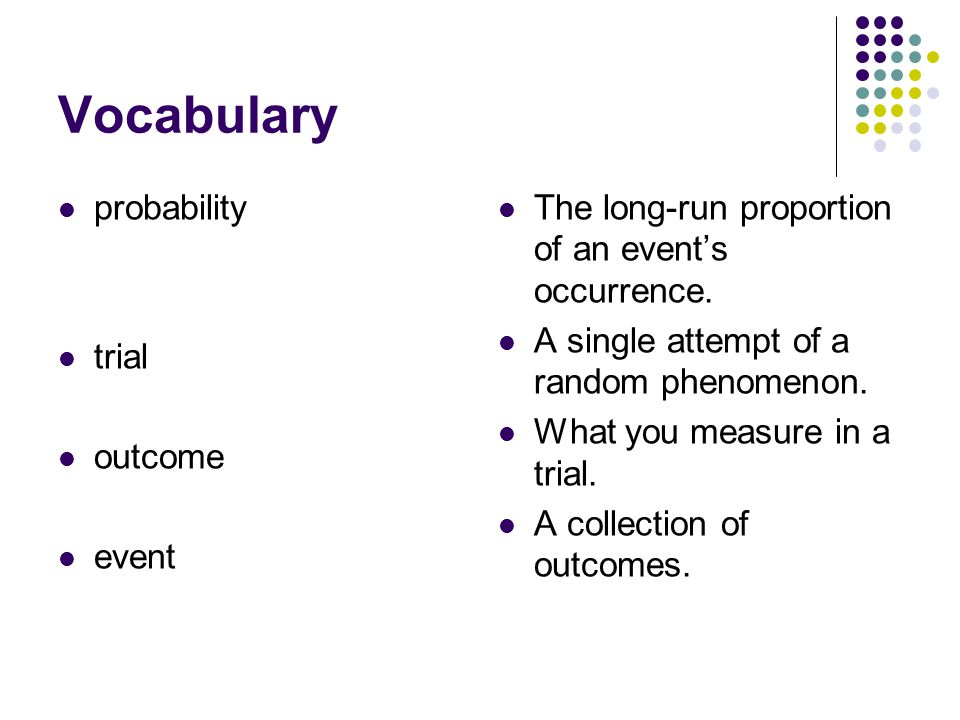 Vocabulary probability trial outcome event