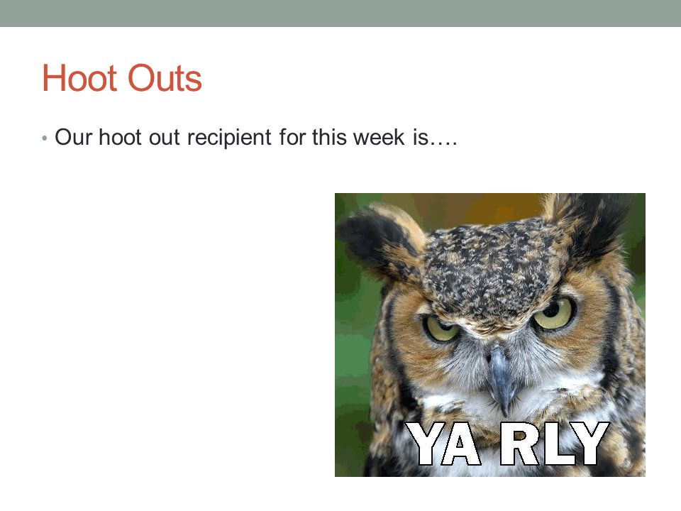 Hoot Outs Our hoot out recipient for this week is….