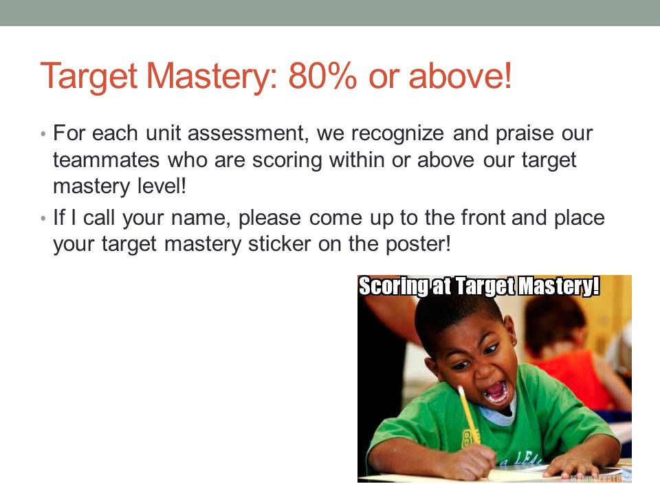 Target Mastery: 80% or above!