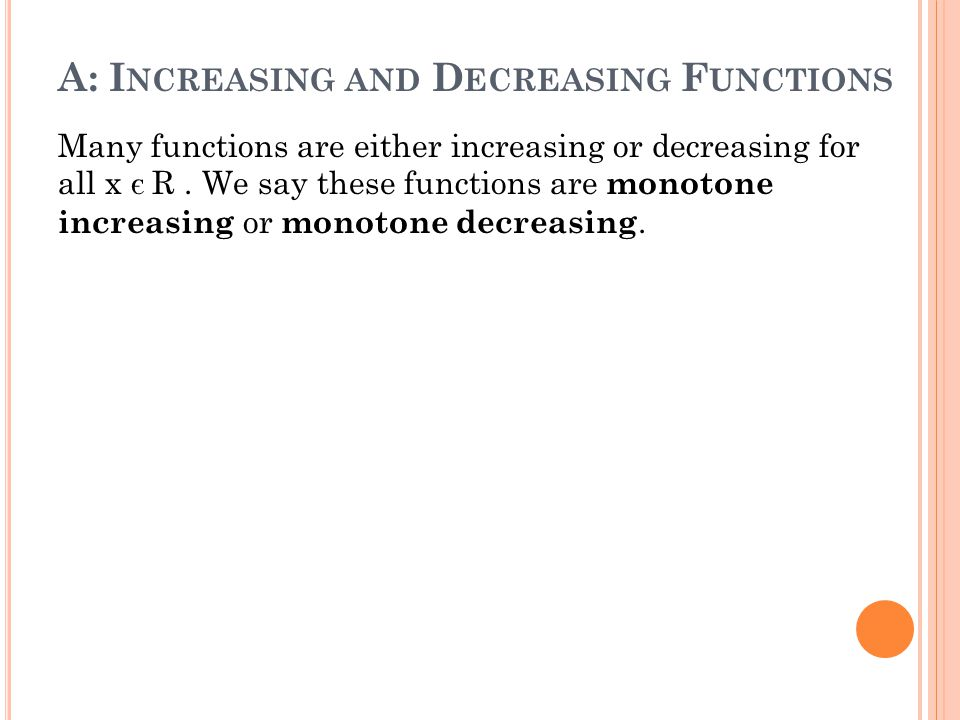 how to tell if a function is increasing or decreasing