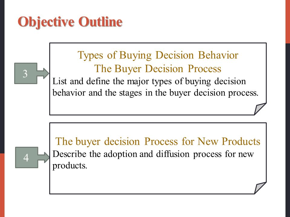 types of buying decision behavior 1 1 consumer markets and consumer buyer behavior chapter 6 2 objectives • influences on buying behavior • buyer decision making • types of buying-decision behavior.
