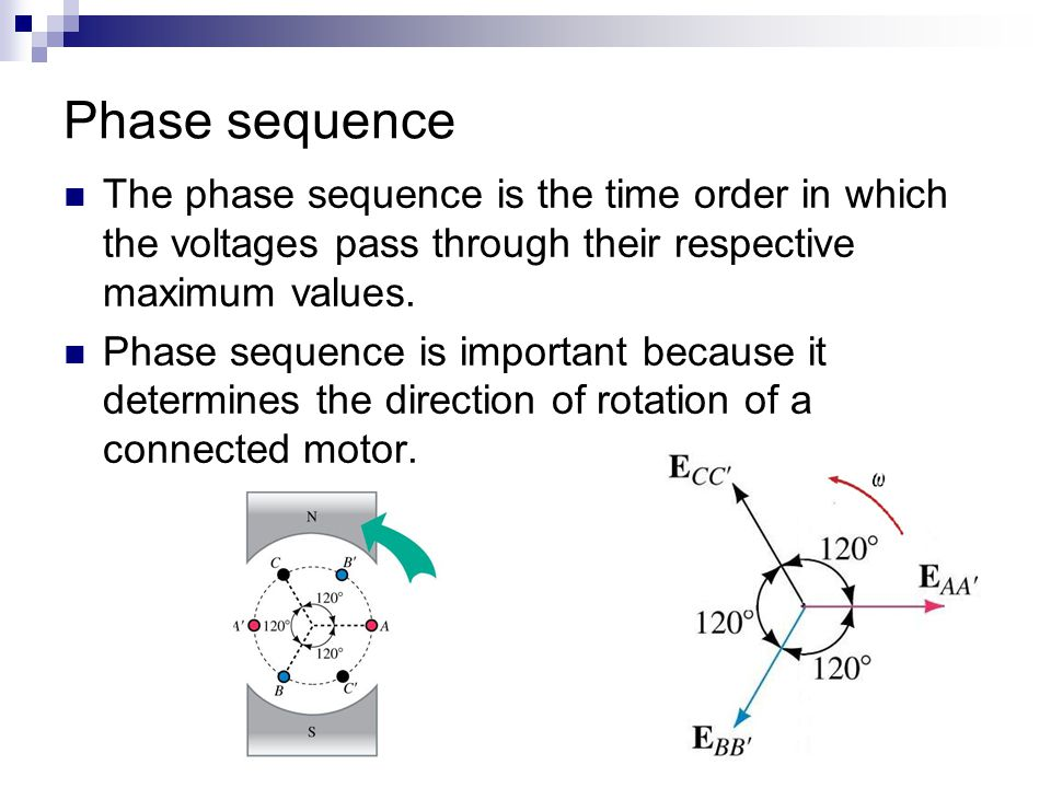 Phase sequence The phase sequence is the time order in which the voltages pass through their respective maximum values.