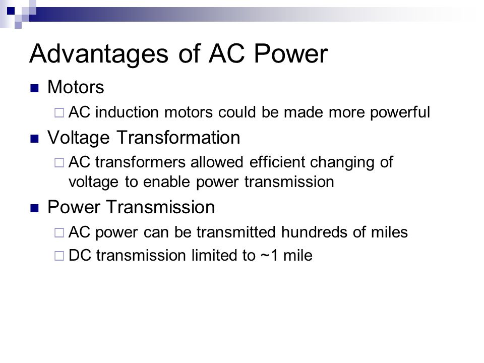 Advantages of AC Power Motors Voltage Transformation