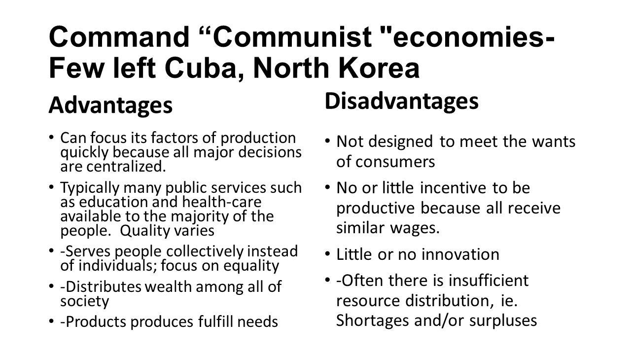 command communist economies few left cuba north korea