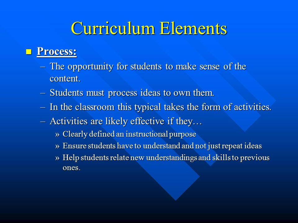 Curriculum Elements Process: