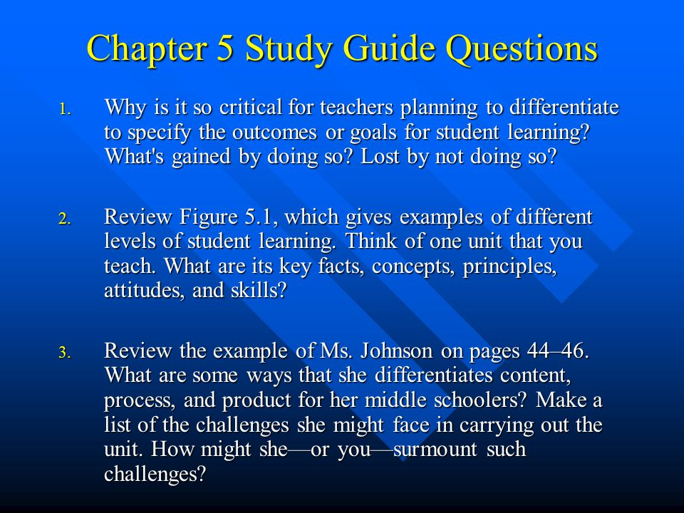 Chapter 5 Study Guide Questions
