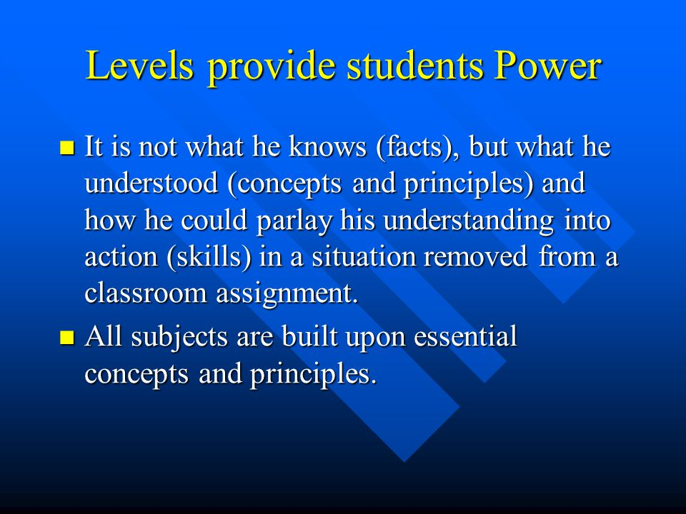 Levels provide students Power