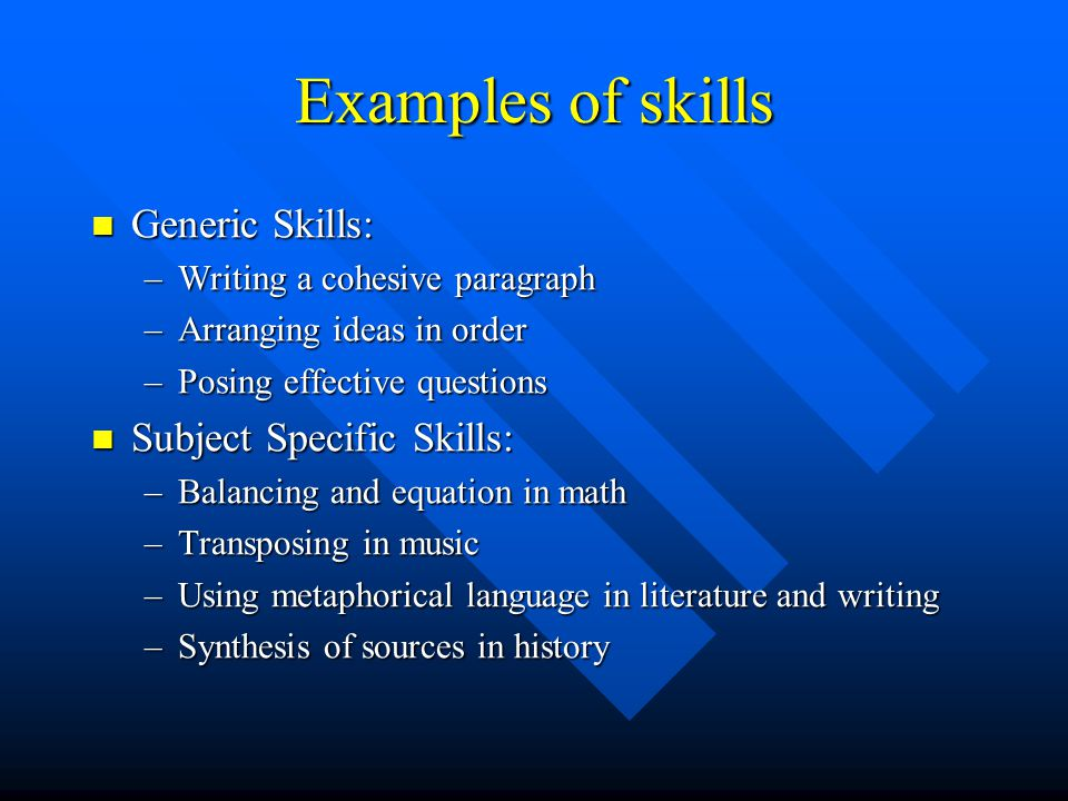 Examples of skills Generic Skills: Subject Specific Skills: