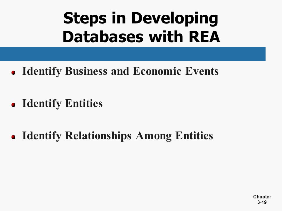 Steps in Developing Databases with REA