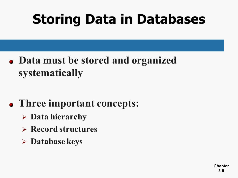 Storing Data in Databases