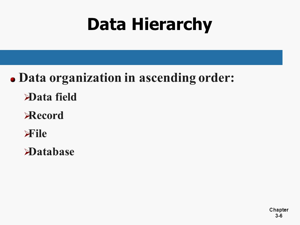 Data Hierarchy Data organization in ascending order: Data field Record