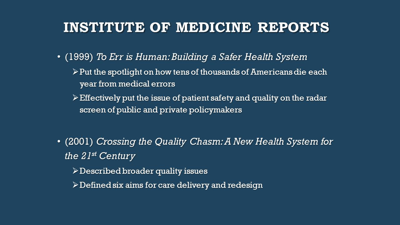institute of medicine report Read this essay on impact of institute of medicine's report on future of nursing come browse our large digital warehouse of free sample essays get the knowledge you need in order to pass your classes and more.