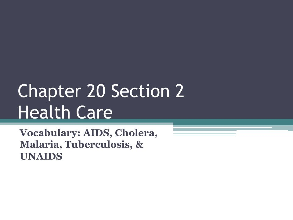 Chapter 20 Section 2 Health Care