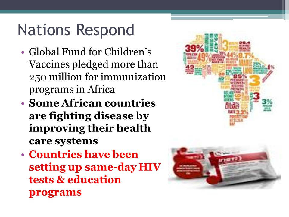 Nations Respond Global Fund for Children's Vaccines pledged more than 250 million for immunization programs in Africa.